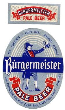 Burgermeister Pale Beer Label San Francisco Ca