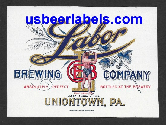 Labor Beer Label, Uniontown, PA