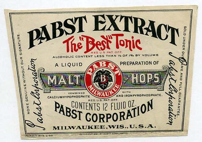 Extract Label Pabst Extract Beer Label