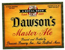 Dawsons Master Ale Beer Label