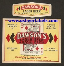 Dawsons Lager Beer Beer Label
