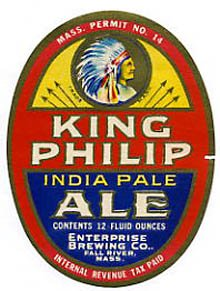 King Philip India Pale Ale Beer Label