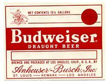 Budweiser Draught Beer Label