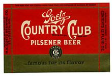 Goetz Country Club Pilsener Beer Label