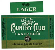Goetz Country Club Lager Beer Label