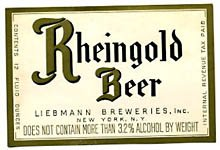 Rheingold Beer Label