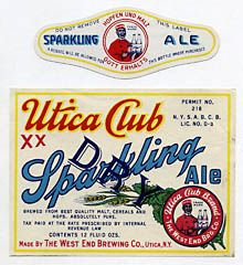 Utica Club Dry Sparkling Ale Beer Label