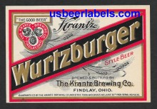 Krantz Wurtzburger Beer Label