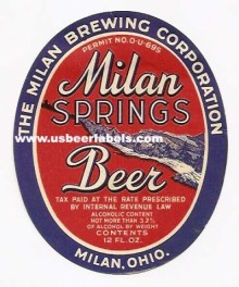 Milan Springs Beer Label