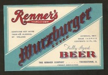 Renners Wurzburger Beer Label