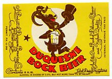 Duquesne Bock Beer Label