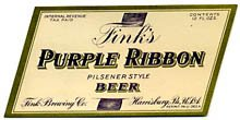 Fink's Purple Ribbon Pilsener Beer Label
