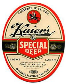 Kaiers Special Light Lager Beer Label
