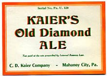 Kaier's Old Diamond Ale Beer Label