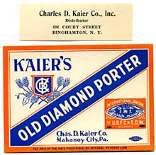 Kaier's Old Diamond Porter Beer Label
