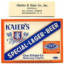 Kaier's Special Lager Beer Label