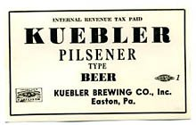 Kuebler Pilsener Type Beer Label