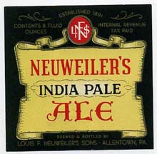 Neuweilers Indian Pale Ale Beer Label