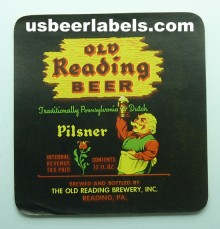 Old Reading Pilsner Beer Label