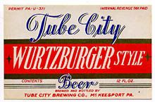 Tube City Wurtzburger Beer Label
