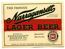 Narragansett Select Stock Lager Beer Label
