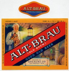Alt Brau Beer Label