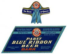 Pabst Blue Ribbon Dark Beer Label