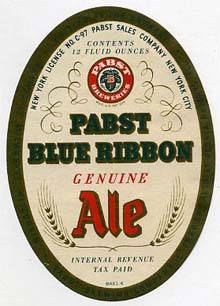 Pabst Blue Ribbon Ale Beer Label
