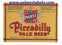 Pabst Piccadilly Pale Beer Label