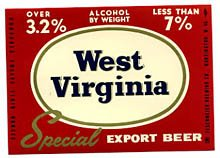 West Virginia Special Export Beer Label