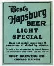 Best's Hapsburg Light Special Beer Label