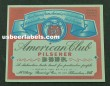 American Club Pilsener Beer Label