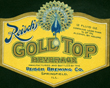 Reisch's Gold Top Beverage Beer Label
