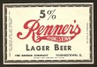 Renners Youngstown Lager Beer Label